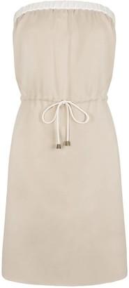 Short Strapless Dress Beige