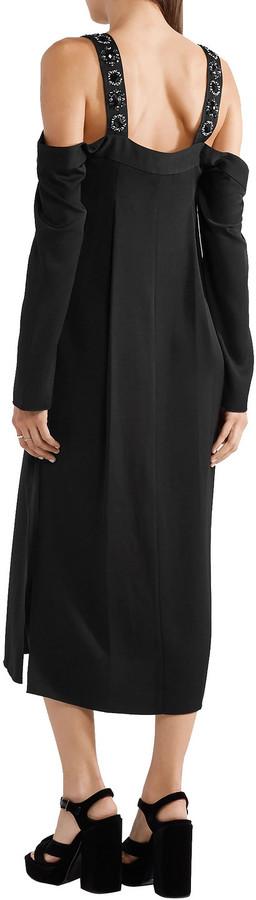 Thumbnail for your product : Elizabeth and James Fynn Cold-shoulder Embellished Crepe De Chine Midi Dress