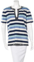 Tory Burch Striped Embellished Top