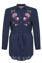 Quiz Curve Navy And Pink Flower Embroidered Shirt Dress