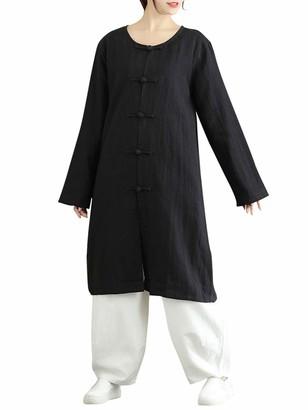 Romacci Women Vintage Outerwear Cotton Frog Buttonhole Loop Side Split Round Neck Long Sleeve Oversized Tops Shirt Tops Black