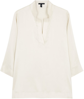 Eileen Fisher Ivory Brushed Silk Blouse