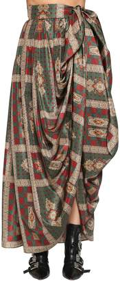 Etro Long Printed Silk Taffeta Wrap Skirt