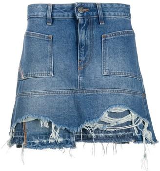 Diesel Distressed Denim Mini Skirt