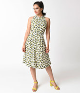 Emily And Fin Vintage Style Ivory & Pineapple Punch Sally Flare Dress
