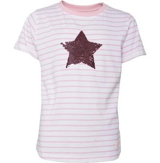 Board Angels Junior Girls Glitter Star T-Shirt Pink/White