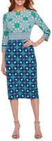 Liz Claiborne 3/4 Sleeve Medallion Sheath Dress