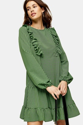 Topshop Womens Tall Green Ruffle Gingham Mini Dress - Green