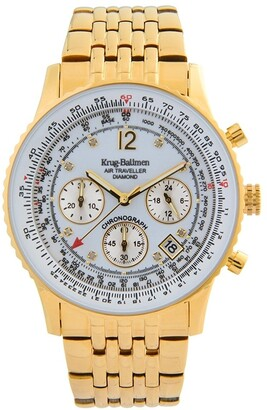 Krug Baumen Krug-Baumen 400101DS Krug-Baumen Diamond Air Traveller Quartz Chronograph Gold/White Watch 400101DS