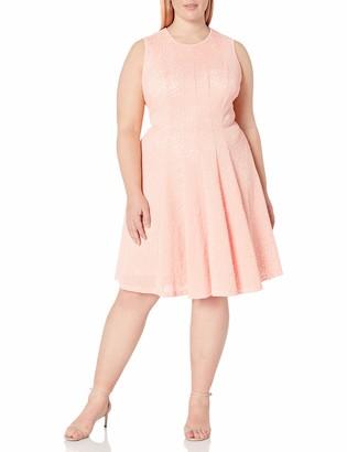 Calvin Klein Women's Plus Size Laser Cut Flare Dress