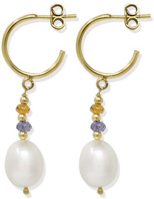 Vintouch Italy Seas & Sparks Orange Blue Hoop Earrings