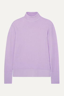 KING & TUCKFIELD Pointelle-knit Merino Wool Turtleneck Sweater - Lilac