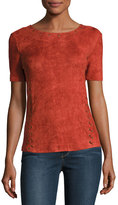 Moon River Eyelet-Detail Faux-Suede Top, Rust