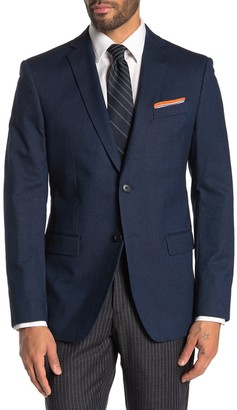 John Varvatos Blue Birdseye Two Button Notch Lapel Jacket