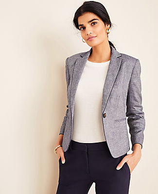 Ann Taylor The Petite Newbury Blazer in Piped Chambray