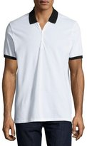 Rag & Bone Farris Contrast-Trim Polo Shirt, White