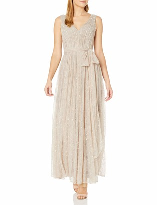 Vera Wang Women's Sleeveless Double Vneck Scallop Lace Long Fit and Flare Dress