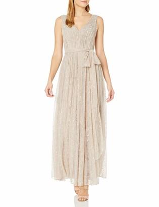 Vera Wang Women's Sleeveless Double Vneck Scallop Lace Long Fit & Flare Dress