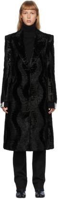 we11done Black Faux-Fur Coat