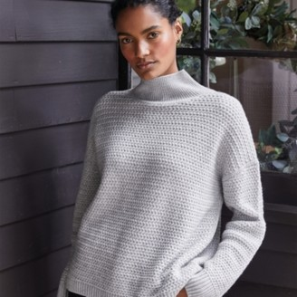 The White Company Weave-Stitch Jumper with Cashmere , Cloud Marl, Extra Small