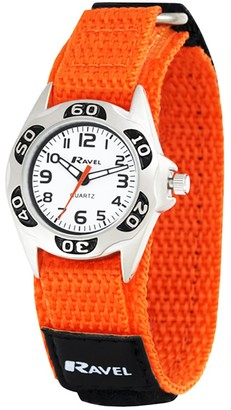 Ravel Children's Gold and Black Easy Fasten Action Strap Watch.