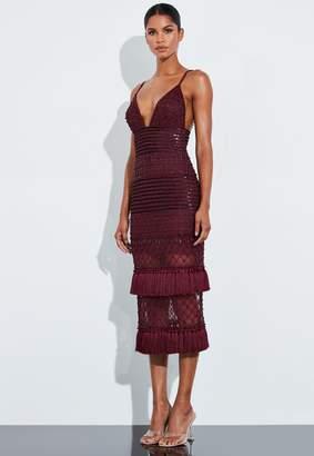 Missguided Burgundy Beaded Fringe Midi Dress