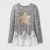 Miss Chievous Girls' Long Sleeve Top w/ Sequin Star & Natural Mesh