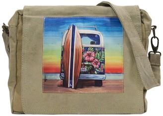 Vintage Addiction Beach Bus Recycled Military Tent Crossbody Bag