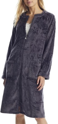 Eileen West Charcoal Zip-Up Plush Robe