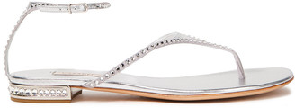 Casadei Flash Crystal-embellished Metallic Leather Sandals
