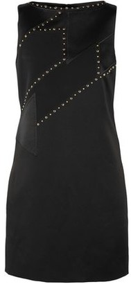 Versace Studded Satin And Crepe Mini Dress