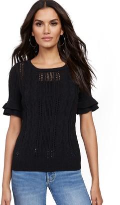 New York & Co. Open-Stitch Ruffle-Sleeve Sweater