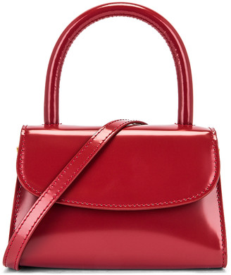 BY FAR Mini Semi Patent Leather Top Handle Bag in Red | FWRD