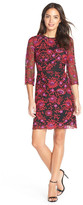 Adrianna Papell Floral Embroidered Mesh Sheath Dress (Petite)