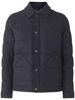 Jigsaw Waxed Lambswool Quilted Jacket, Navy