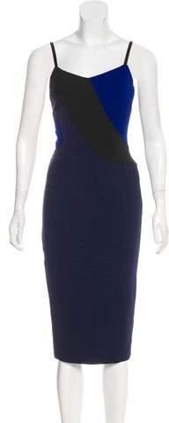 Victoria Beckham Leather-Trimmed Colorblock Dress