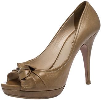 Prada Beige Leather Bow Peep Toe Platform Pumps Size 39