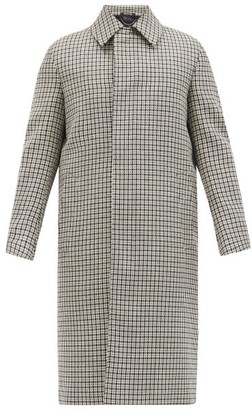 Dunhill Houndstooth-check Wool Overcoat - White Black