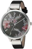 Nine West Women's NW/2045BKBK Silver-Tone and Black Strap Watch