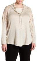 Bobeau Lace Shoulder Sweatshirt (Plus Size)