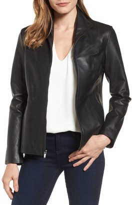 Cole Haan Lambskin Leather Zip Jacket