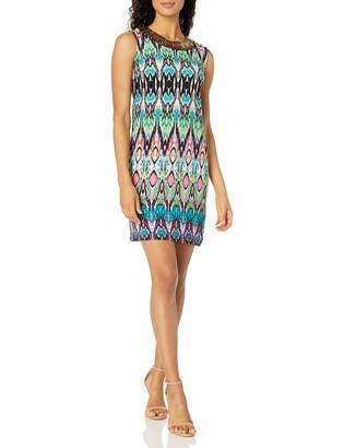 Sandra Darren Women's 1 Pc Sleeveless Multi Colored Printed Ity Shift Dress