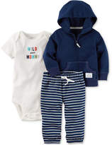 Carter's 3-Pc. Cotton Hoodie, Wild About Mommy Bodysuit and Pants Set, Baby Boys (0-24 months)