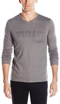 Armani Jeans Men's Faded Logo Long Sleeve T-Shirt, Grey, Large