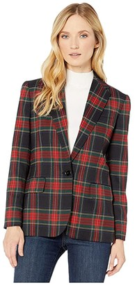 Lauren Ralph Lauren Tartan-Print Blazer (Polo Black/Red Multi) Women's Clothing