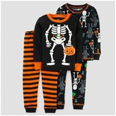 Just One You made by carter Toddler Boys' 4pc Halloween Skeleton Long Sleeve Cotton Pajama - Just One You Made by Carter's® Black