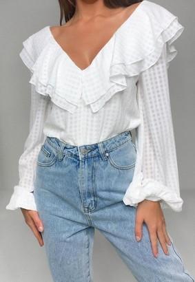 Missguided White Plaid Ruffle Tie Back Bodysuit