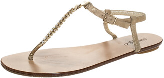 Jimmy Choo Metallic Gold Suede Nox Crystal T Strap Thong Flats Sandals Size 39.5