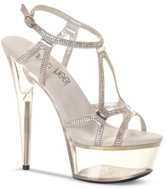 "The Highest Heel Women's Glamorous-51 Rhinestone Accented Platform Sandal with 6"" Heels"