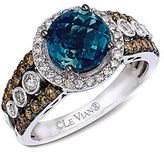 LeVian Blue Topaz Ring with Diamonds in 14K Vanilla Gold